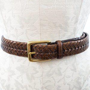 Vintage Eddie Bauer OS Leather Braided Belt Brown